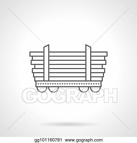 Vector Art - Platform car for long freights line vector icon