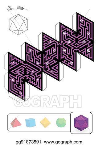 Vector Clipart - Platonic solid icosahedron maze. Vector ...