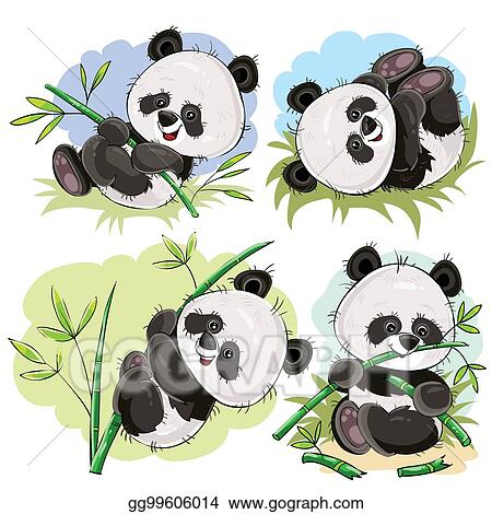 Vector Stock Playful Panda Bear Baby With Bamboo Cartoon Vector Stock Clip Art Gg99606014 Gograph