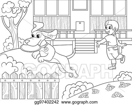 EPS Vector - Playing a boy in nature with a dog in frisbee coloring ...
