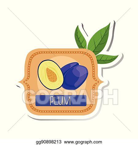 Vector Illustration Plum Bright Color Jam Label Sticker Template