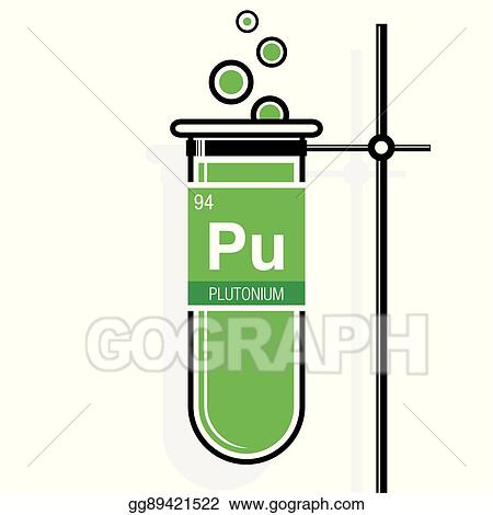 Vector Art Plutonium Symbol On Label In A Green Test Tube With