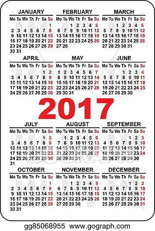 Vector Stock Pocket Calendar 2017 Stock Clip Art Gg85068955 Gograph