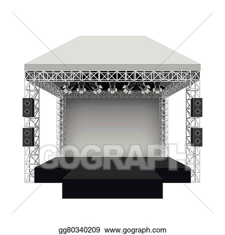 Podium Concert Stage Vector Illustration