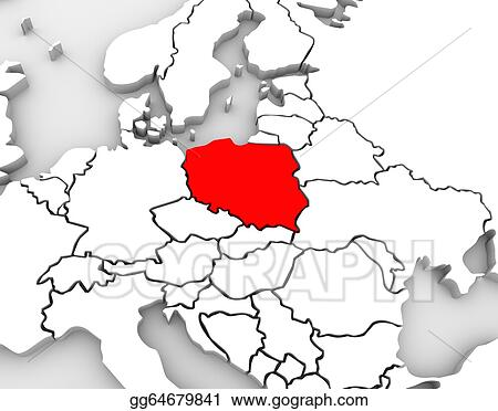 Clip Art Poland Map Abstract 3d Europe Continent Stock