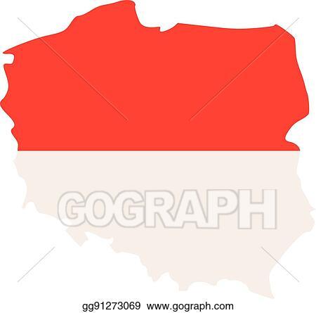 Clip Art Vector - Poland map with flag. Stock EPS gg91273069 - GoGraph