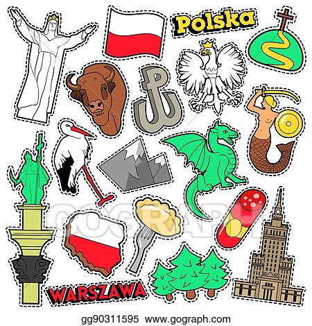 Vector Illustration Poland Travel Scrapbook Stickers Patches