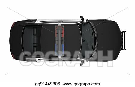 Drawing Police Car Top View 3d Rendering Clipart Drawing