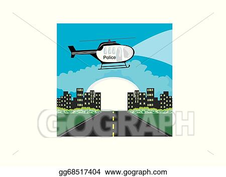 Vector Clipart - Police helicopter patrolling the city at