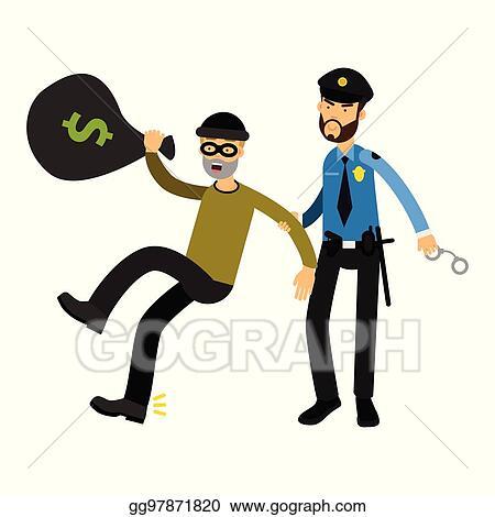 af24b18c655 Vector Clipart - Police officer character arresting robber vector ...