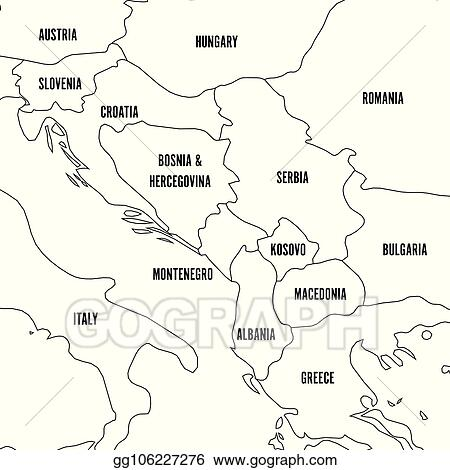EPS Illustration - Political map of balkans - states of ...