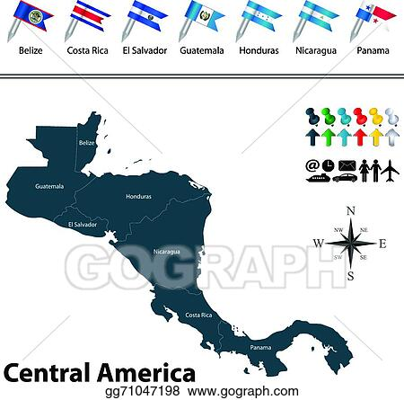 Clip Art Vector - Political map of central america. Stock EPS ...