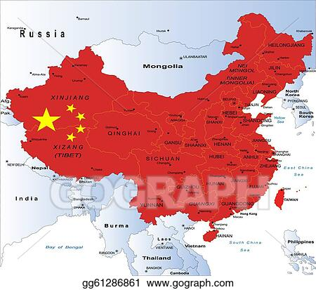 Vector Art Political Map Of China Eps Clipart Gg61286861 Gograph