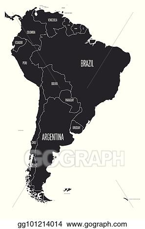 Eps Illustration Political Map Of South America Simple Flat