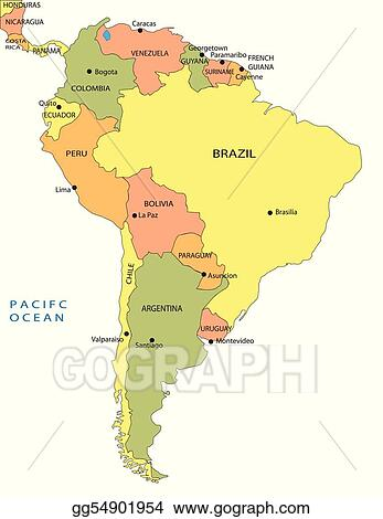 EPS Illustration - Political map of south america. Vector Clipart ...