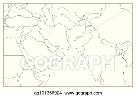 Vector Illustration Political Map Of South Asia And Middle East
