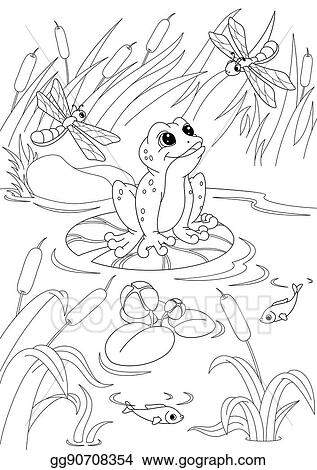 EPS Illustration - Pond coloring page. Vector Clipart ...