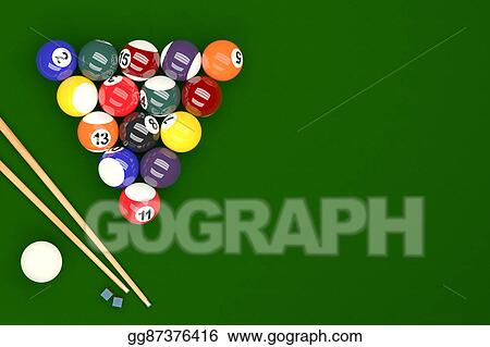 Pool Balls On Table Background 3D Rendering