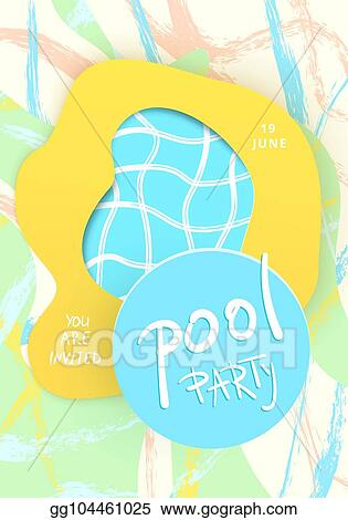 Stock Illustration Pool Party Vertical Flyer With Papercut Shapes
