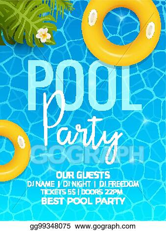 Pool Summer Party Invitation Template With Palm Poster Or Flyer Vector Design
