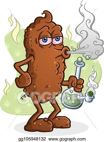 Eps Illustration Poop Smoking Marijuana Cartoon Character Vector Clipart Gg105948132 Gograph