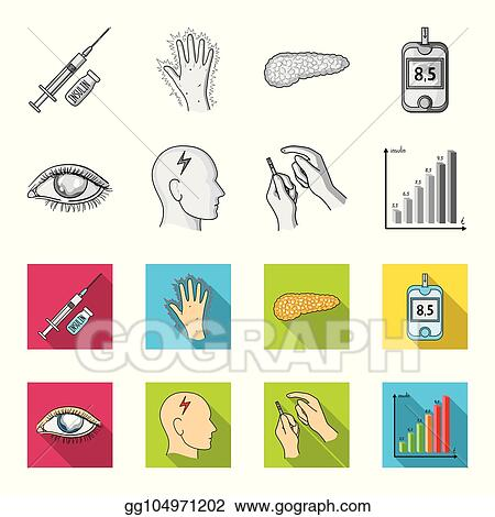 Poor vision, headache, glucose test, insulin dependence. Diabetic set  collection icons in monochrome,flat style vector symbol stock illustration  web.