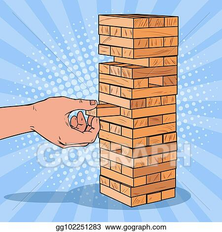 Vector Illustration Pop Art Male Hand Pulls Out Wooden Block In Mesmerizing Wooden Bricks Game
