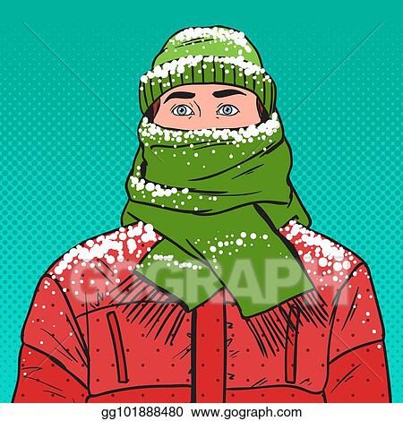 9744f857f2a Pop Art Portrait of Frozen Man in Warm Winter Clothes. Cold Weather. Vector  illustration
