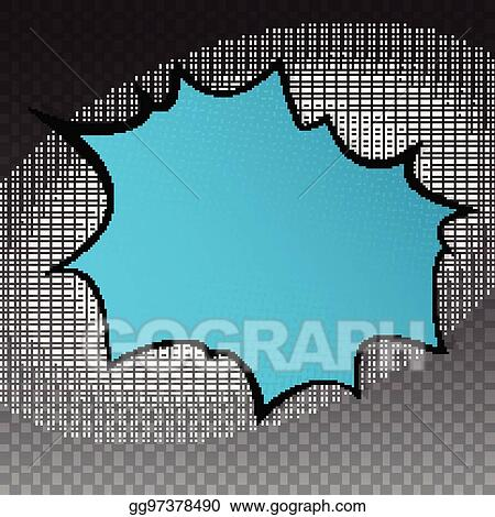 Pop Art Splash Background Explosion In Comics Book Style Blank Layout Template With Halftone Dots Pattern On Transparent Backdrop