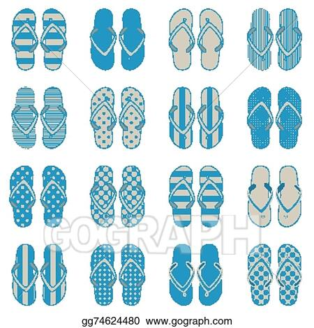 539a67831 EPS Vector - Pop art style flip flops. Stock Clipart Illustration ...