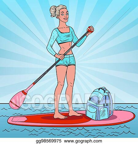 Pop Art Woman On The Stand Up Paddle Board Girl In Swimsuit SUP Vector Illustration