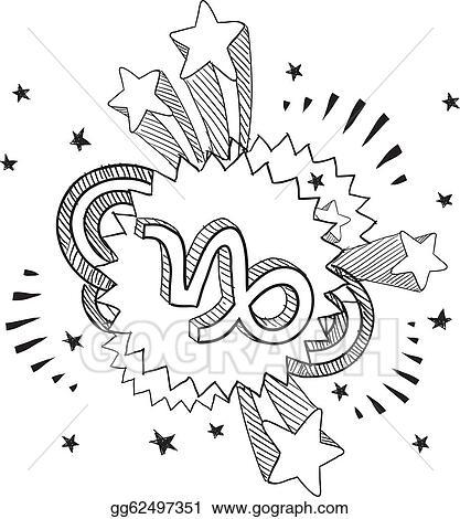 Vector Art Pop Capricorn Astrology Symbol Clipart Drawing