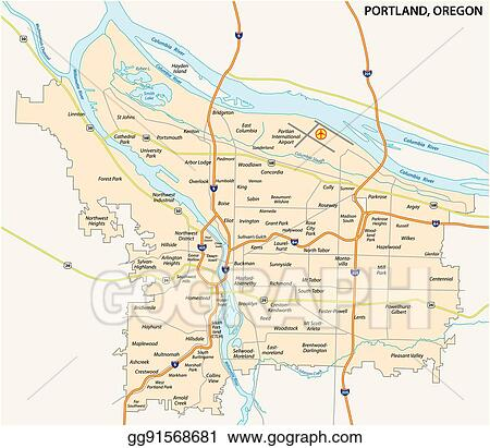 Vector Illustration - Portland road and neighborhood map  Stock Clip