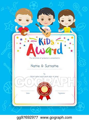 eps vector portrait colorful kids award diploma certificate