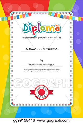 clip art vector portrait kids diploma or certificate template with