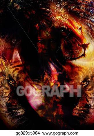 Stock Illustration Portrait Lion And Tiger Face Profile