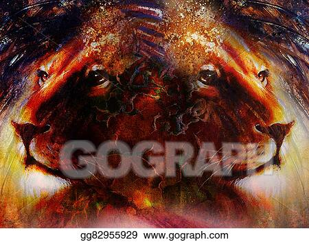 Stock Illustration Portrait Lion Face Profile Portrait