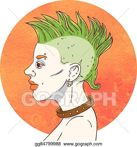 Vector Illustration Portrait Of A Young Girl With Mohawk Hairstyle