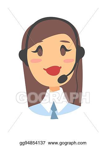 EPS Illustration - Portrait of happy smiling female customer