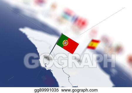 Clipart Portugal Flag In The Focus Europe Map With Countries