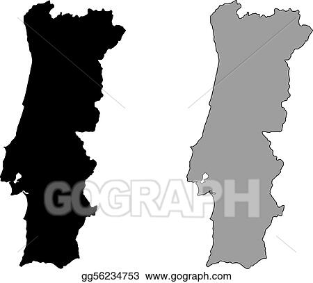 Vector Clipart - Portugal map. black and white. mercator projection on model of map, set of map, photography of map, drawing of map, map of map, animation of map, texture of map, element of map, depression of map, shape of map, scale of map, type of map, view of map, orientation of map,