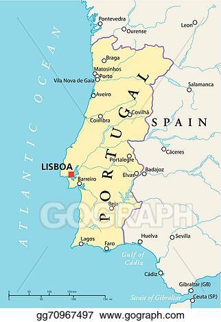 Vector Illustration Portugal Political Map Stock Clip Art - Portugal map rivers