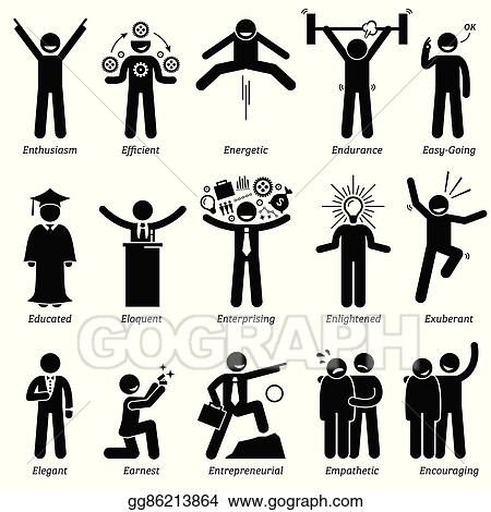 vector art positive character traits clipart drawing gg86213864