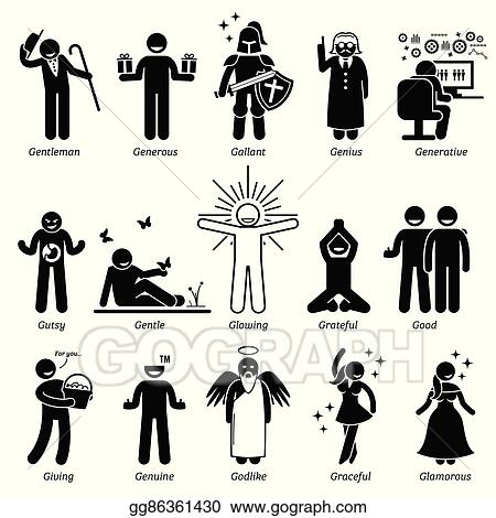 vector art positive character traits clipart drawing gg86361430