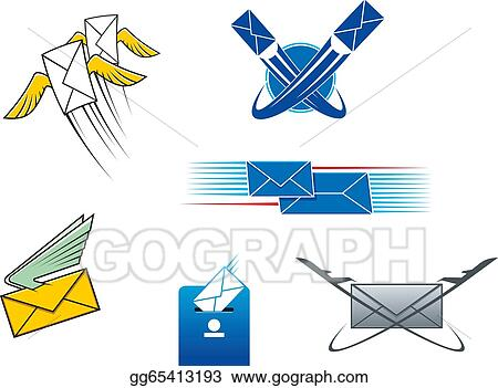 Vector Art Post Mail And Letters Symbols Clipart Drawing