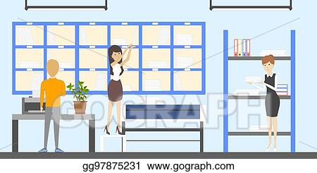 Vector Art Post Office Interior Clipart Drawing Gg97875231 Gograph