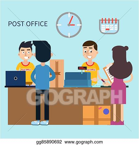 Vector Stock Post Office Woman Receiving Letter Postal Service
