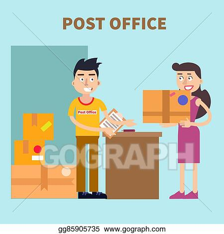 Vector Stock Post Office Woman Sending Parcel Postal Service