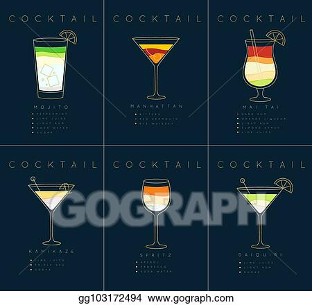 Vector Illustration Poster Cocktails Mojito Dark Blue Stock Clip Art Gg103172494 Gograph
