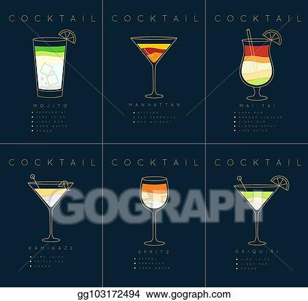 Vector Illustration Poster Cocktails Mojito Dark Blue Stock Clip Art Gg103172494 Gograph